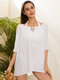 Women Crochet Thin Solid Color Sun Protection Cover Up Beach Dress - White