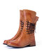 Women Round Toe Comfy Soft Lace Up Back Zipper Casual Retro Mid-Calf Boots - Brown