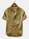 Mens Cotton Linen Breathable Vintage Short Sleeve Shirts - Yellow