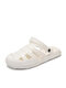 Women Summer Closed Toe Breathable Cut Out Water Shoes Comfortable Slip On Beach Sandals - White