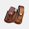 Men EDC Genuine Leather Retro Multitool Solid Waist Belt Bag - Brown