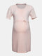 Maternity Striped Short Sleeves Front Open Loose Thin Pajama Casual Nursing Dress - #02