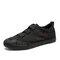 Men Fabric Splicing Non Slip Elastic Band Sport Casual Shoes - Black