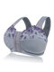 Plus Size G Cup Front Closure Embroidery Wireless Full Coverage Bras - Grey