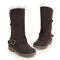 Women Buckle Strap Decor Solid Color Round Toe Warm Lining Mid-calf Snow Boots - Brown