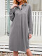 Casual Solid Color A-Line Long Sleeve Cotton Shirt Dress - Grey