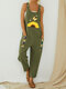 Daisy Butterfly Printed Patchwork Straps Jumpsuit With Pocket - Army