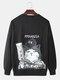 Mens Solid Color Cartoon Cat Back Print Loose Crew Neck Sweatshirts - Black
