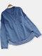 الصلبة اللون طاقم الرقبة غير النظامية الدينيم بالاضافة الى حجم القميص