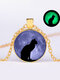 Vintage Glass Printed Women Necklace Moon Starry Black Cat Luminous Pendant Necklace Jewelry Gift - Gold