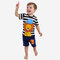Boy's Lion Print Striped Short-sleeved Soft Pajama Clothing Set For 1-5Y - As Picture