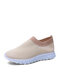 Plus Size Women Knitted Fabric Comfy Lightweight Breathable Elastic Running Shoes - Apricot
