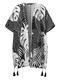 كارديجان بأكمام قصيرة مزين بشراشيب ومقاس Plus - أسود