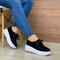 Women's Soft Lace-up Casual Large Size Wedges Sports Shoe - Black
