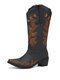 Plus Size Women Retro Butterfly Embroidered Chunky Heel Square Toe Cowboy Boots - Black