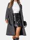 Women Plaid Print Lapel Collar Long Sleeve Casual Coat - Black