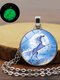 Vintage Glass Printed Women Necklace Unicorn Luminous Pendant Clavicle Chain Jewelry - Silver
