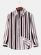 Mens Simple Striped Casual Thin Regular Fit Lapel Long Sleeve Shirts - White
