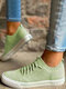 Large Size Soft Comfy Breathable Solid Color Knit Elastic Band Sneakers For Womens - Green