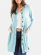 Solid Color Long Sleeve Button Casual Cardigan For Women - Light Blue