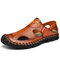 Men Hand Stitching Hole Breathable Non Slip Soft Sole Leather Sandals  - Brown