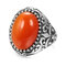Vintage Metal Carved Rough Stone Ring Geometric Oval Cat Eye Crystal Finger Ring - 04