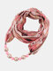 Vintage Chiffon Women Scarf Necklace Beaded Pendant Lattice Flowers Pattern Silk Scarf - #20