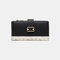 Women Genuine Leather 12 Card Slots Patchwork Floral Photo Card Money Clip Coin Purse Multifunctional Wallet - Black