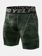 Mens Contrast Seam Quick Dry Breathable Stretch Letter Waistband Skinny Sport Shorts - Camo