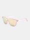 ユニセックスPCフルスクエアフレームHD偏光UV保護アウトドアファッションサングラス - ピンク