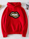 Casual Lips Printed Long Sleeve Hoodie With Pocket - Red