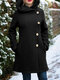 Solid Color Long Sleeves Hooded Warm Coat With Pocket For Women - Black