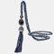 Vintage Luxury Geometric Agate Rhinestone Tassel Long Necklace Handmade Crystal Beaded Sweater Chain - Blue