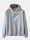 Mens Cotton Whale Pattern Chest Print Loose Pullover Hoodie - Gray