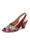 Socofy Flower Elegant Bohemian Low Heel Cowhide Adjustable Hook Loop Chunky Heel Sandals - Red