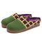 SOCOFY Natural Solid Color Round Toe Plaid Detail Edge Slip On Indoor Flat Home Shoes Slippers - Green