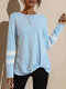 Contrast Color Long Sleeve O-neck T-shirt for Women - Blue
