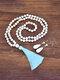 2 Pcs Bohemian Turquoise Women Jewelry Set Tassel Beaded Necklace Sweater Chain Pendant Earrings - #02