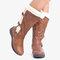 Women Winter Microfiber Warm Plush Zipper Snow Knee High Boots - Brown