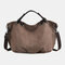 Women Canvas Solid Large Capacity Handbag Crossbody Bag - Brown