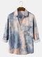 Mens Tie-Dye Print Lapel Collar Casual Long Sleeve Shirts With Pocket - Blue