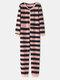 Women Plus Size Basic Horizontal Stripes Print O-Neck Long Sleeve Loose Home Onesies - Pink