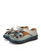 SOCOFY Handmade Flowers Decor Tight Stitched Cowhide Leather Non Slip Loafers Soft Flats Hook Loop Casual Shoes - Gray