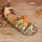 Women Embroidered Hollow Out Opened Toe Bohemian Buckle Sandals - Camel