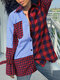 Women Plaid Patchwork Button Pocket Long Sleeve Casual Blouse - Red