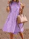 無地フリルカラーノースリーブカジュアルプリーツワンピース - 紫
