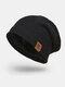 メンズウールPlus厚手の冬は暖かく防風ニット帽を保つ - ブラック