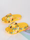 Women Cartoon Printed Home Outdoor Two Ways Slippers Comfy Soft Platform Slide Sandals - Yellow