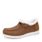 Women Large Size Warm Lining Solid Flat Loafers Shoes - Coffee