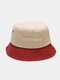 Unisex Cotton Patchwork Color-block Letter Embroidery Fashion Sunshade Bucket Hat - #01